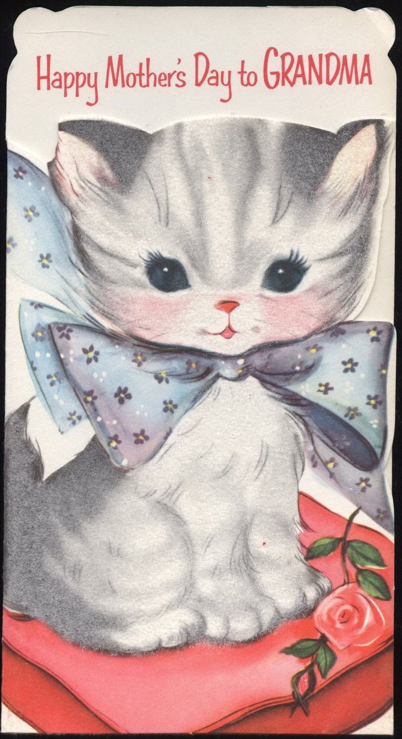 Vintage Kitten With Blue Bow Greeting Card By Vintagerecycling Cat Cards Vintage Birthday Cards Mother S Day Greeting Cards