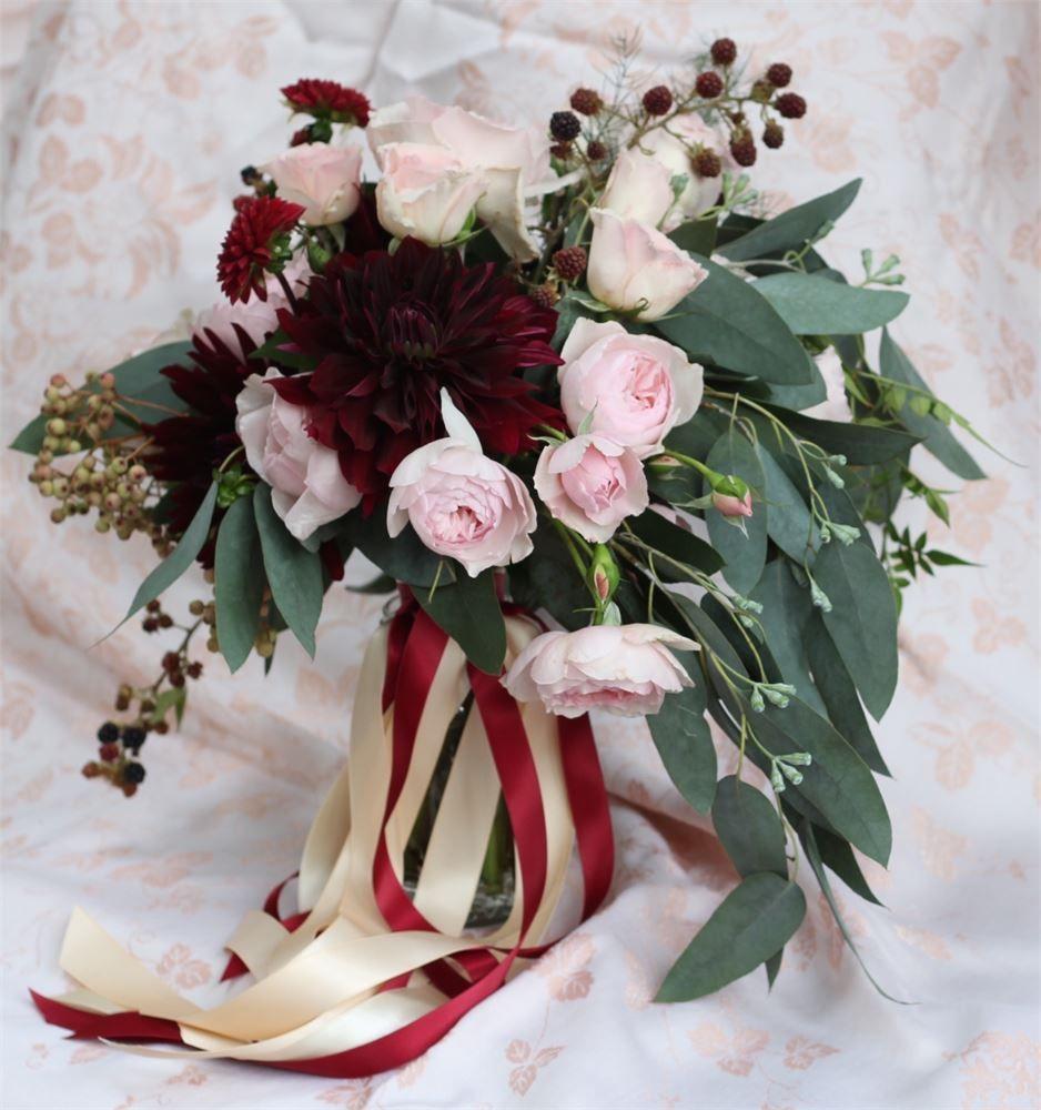 Wedding Flowers Warwickshire: Late Summer Rose And Dark Dahlia Marsala Wedding Bouquet