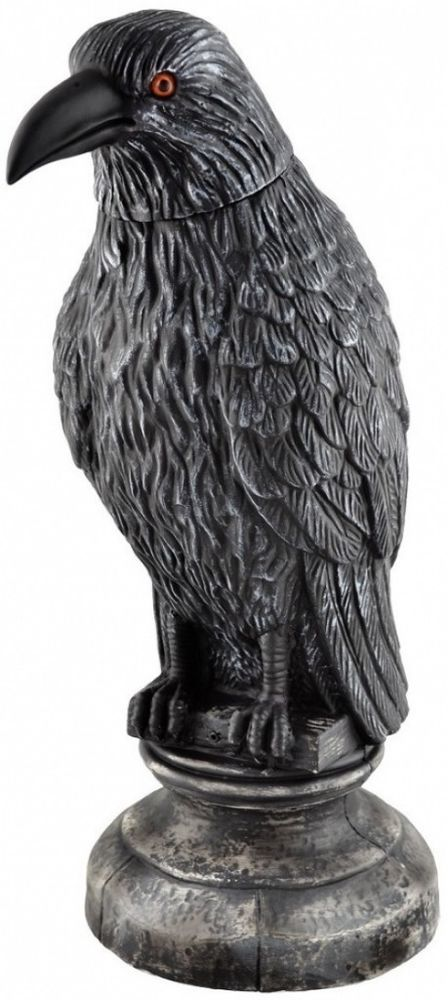 Animated Spooky Black Raven Fright on Perch Battery Operated