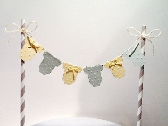 Cake Bunting/Cake Topper. Yellow And Grey Baby One Piece, Gender Neutral. Baby  Shower   First Birthday