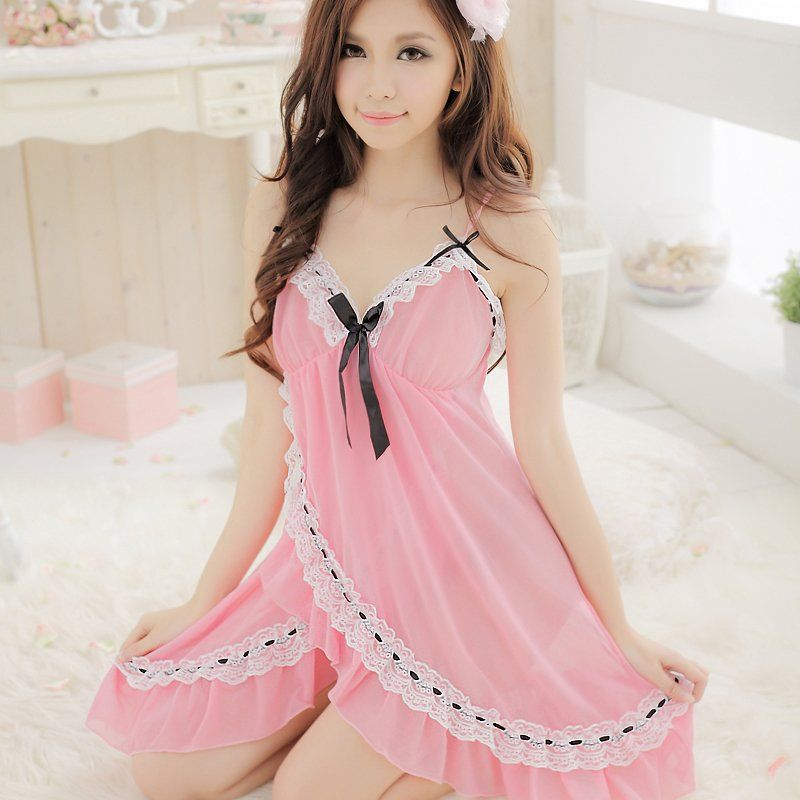 4e13d1e82 lolita-pink-V-neck-lace-decoration-nightgown-sexy-sleep-set-lounge-underwear -twinset-sleepwear