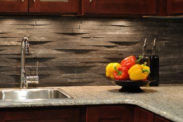 Love The Slate Back Splash Stone Backsplash Black Backsplash Modern Kitchen Backsplash