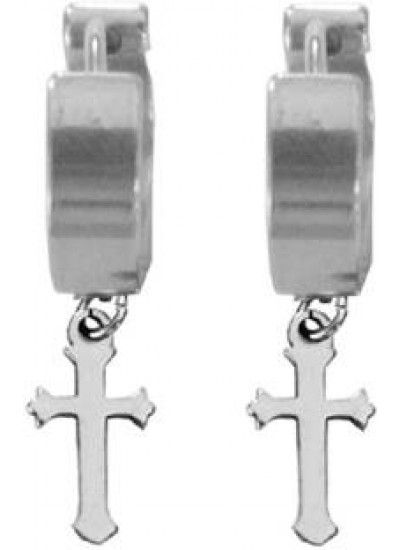 Silver Criss Cross Stud Earring Male Earrings Studs Mens Black