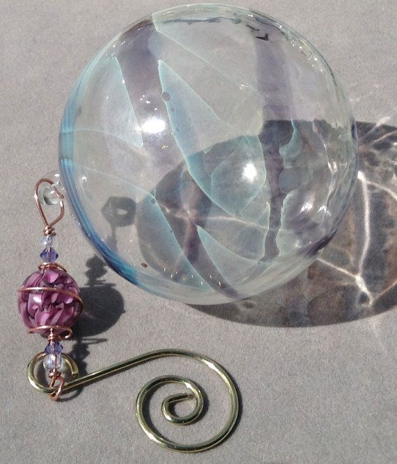 Hand Blown Glass Globe Ornament with Purple Ribbon Cane Glass Bead on Etsy, $18.00
