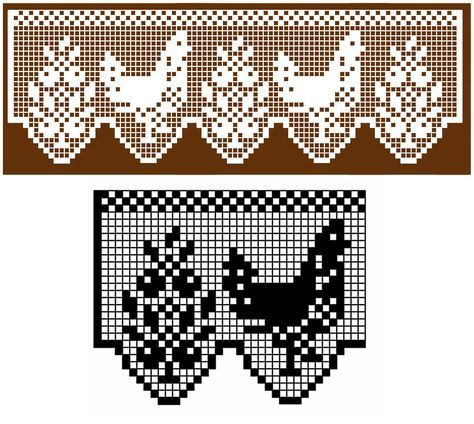 edging filet crochet pattern of flower and chicken repeat. | Πλέξιμο ...