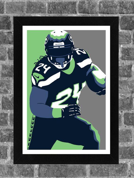 Seattle Seahawks Marshawn Lynch Portrait Sports Print Art 11x17