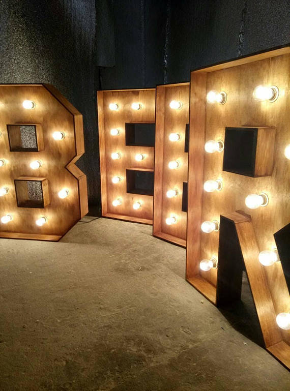 0f56c937177 large wooden letters bar beer wedding light marquee letters big wedding  initials personalized custom