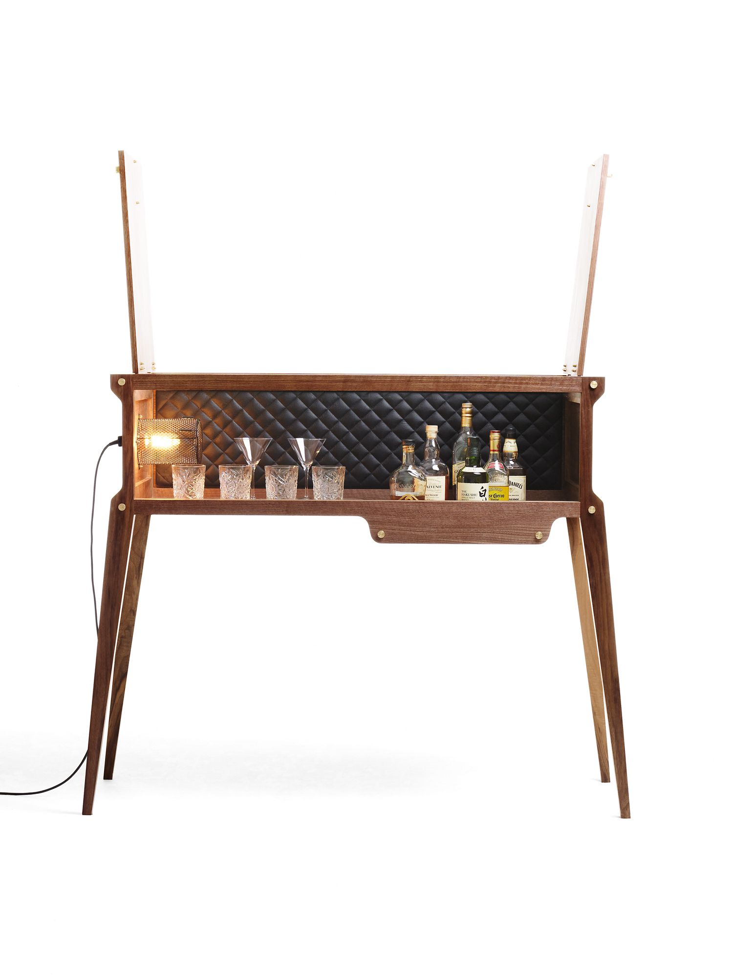 The Rockstar Whisky Bar In American Black Walnut Quilted Black  # Muebles Bustper