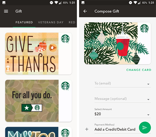 Image result for starbucks app inbox 31 gifts, Give