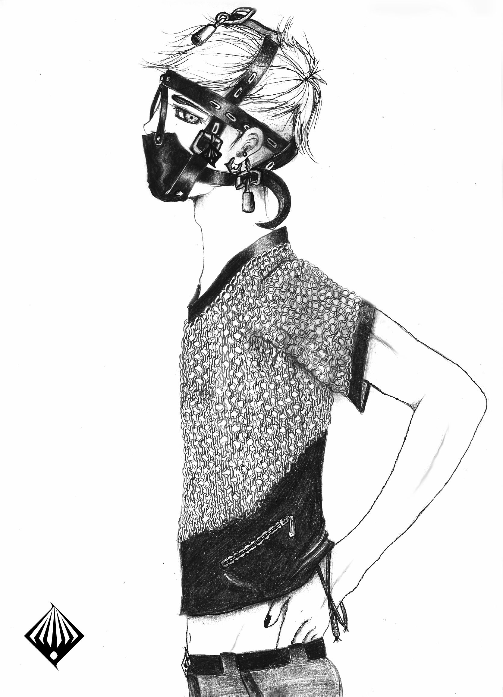 b0ndy by hie cc fashion illustration bondage outfit [ 1669 x 2312 Pixel ]