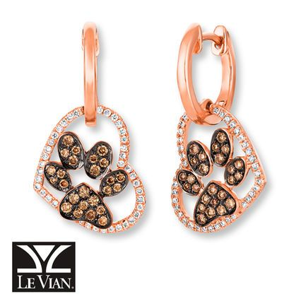 Sweet Earrings For The Pet Lover Le Vian Chocolate Diamonds Paw Print Within Vanilla Hearts In 14k Strawberry Gold