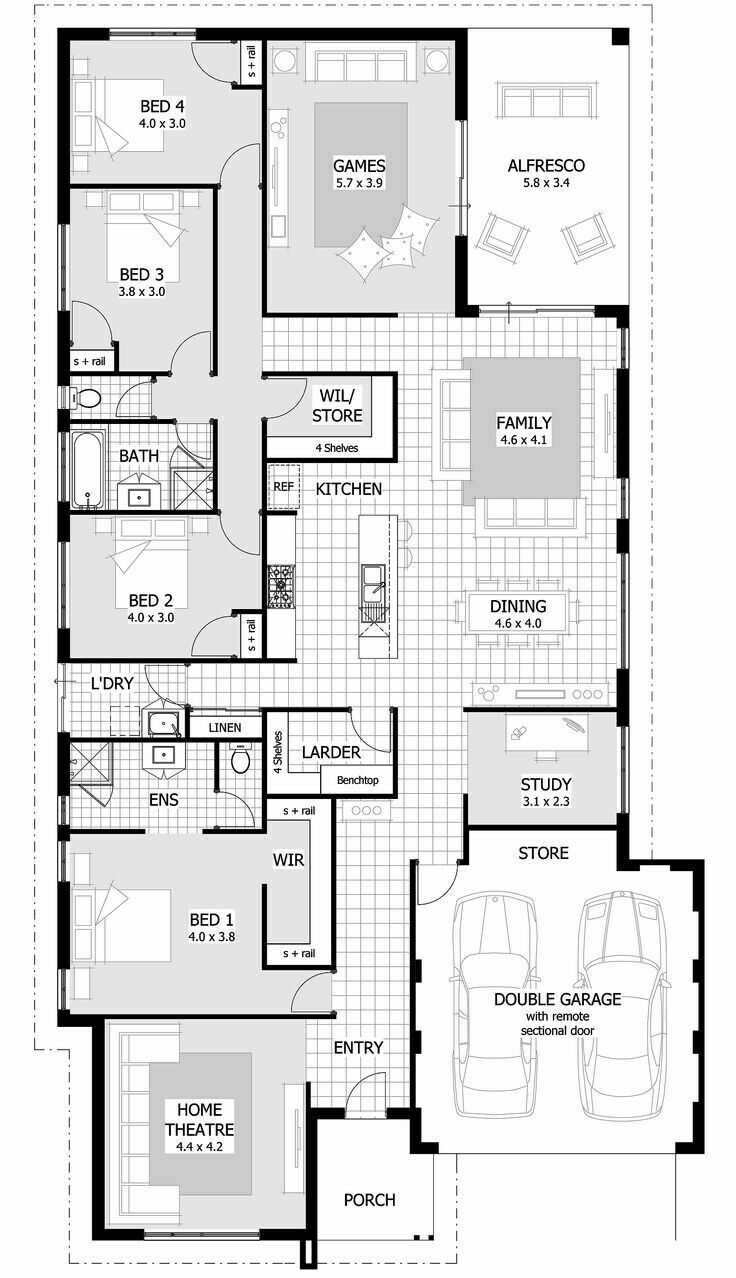 Switch Master And Bedrooms 3 4 Dream House Plans Floor Plans House Plans