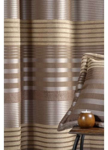 Rideau Bouchara Taffetas Changeant Bandes Horizontales (Taupe ...