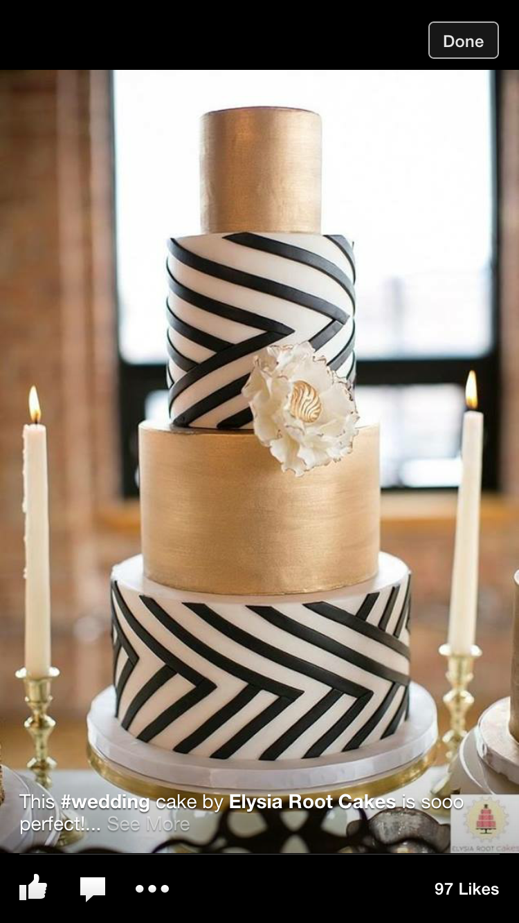 A three tiered cake with. Top and bottom layer coloured black but middle layer being gold. beautiful piece.