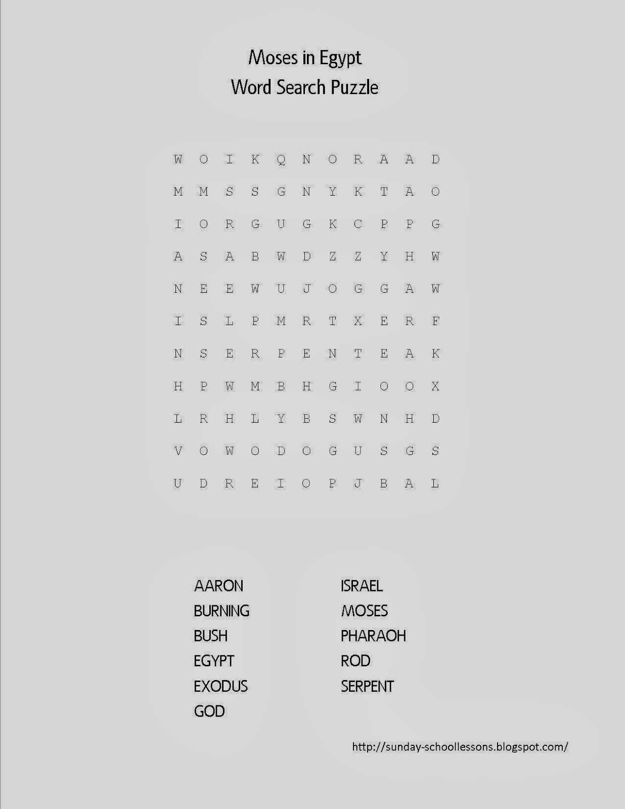 Moses In Egypt Word Search Puzzle