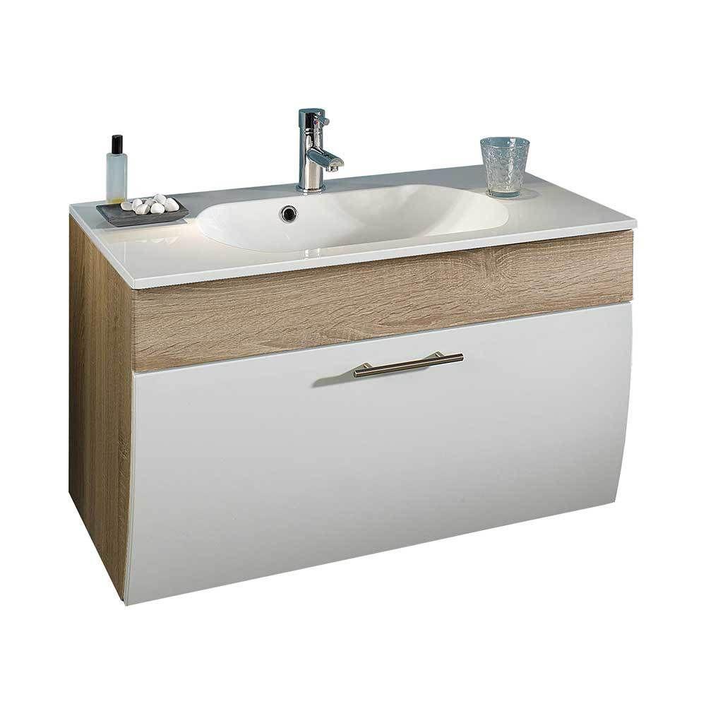 Badezimmer Waschbeckenschrank in Weiß Hochglanz Eiche Sonoma mit ...