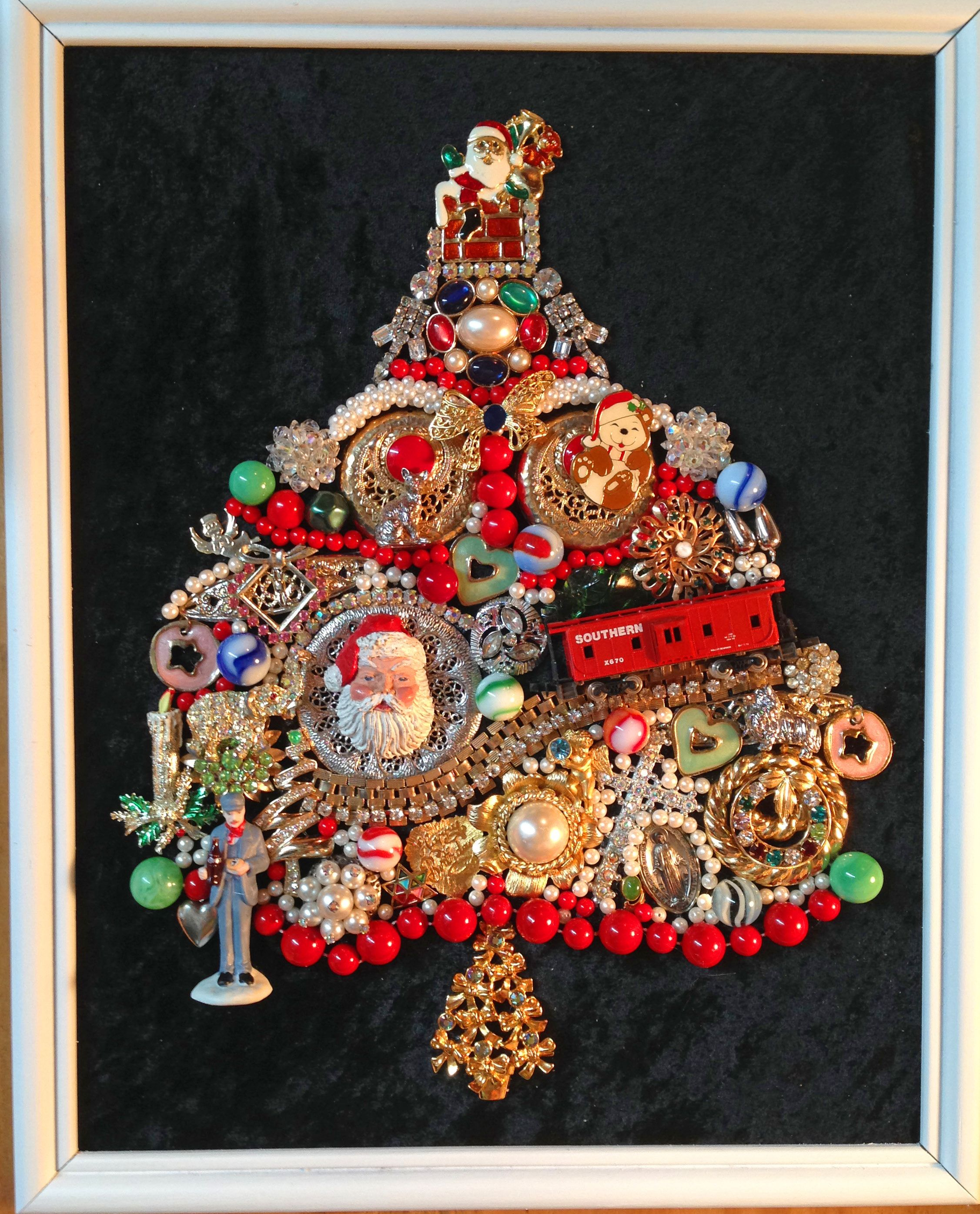 Sold! Whimsical Framed Train Christmas Tree Using Vintage