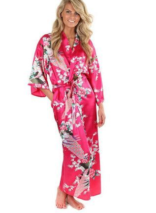 14db5ab3c1 Brand New Black Women Silk Kimono Robes Long Sexy Nightgown Vintage Printed  Night Gown Flower Plus