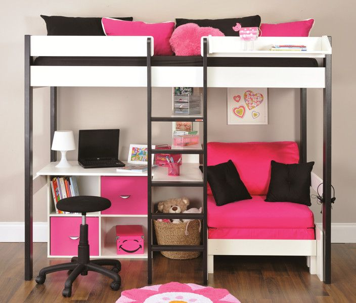 Last Years Nero High Sleeper With Pink Chair Bed Cube Unit With 2 Pink Doors Free Mattress