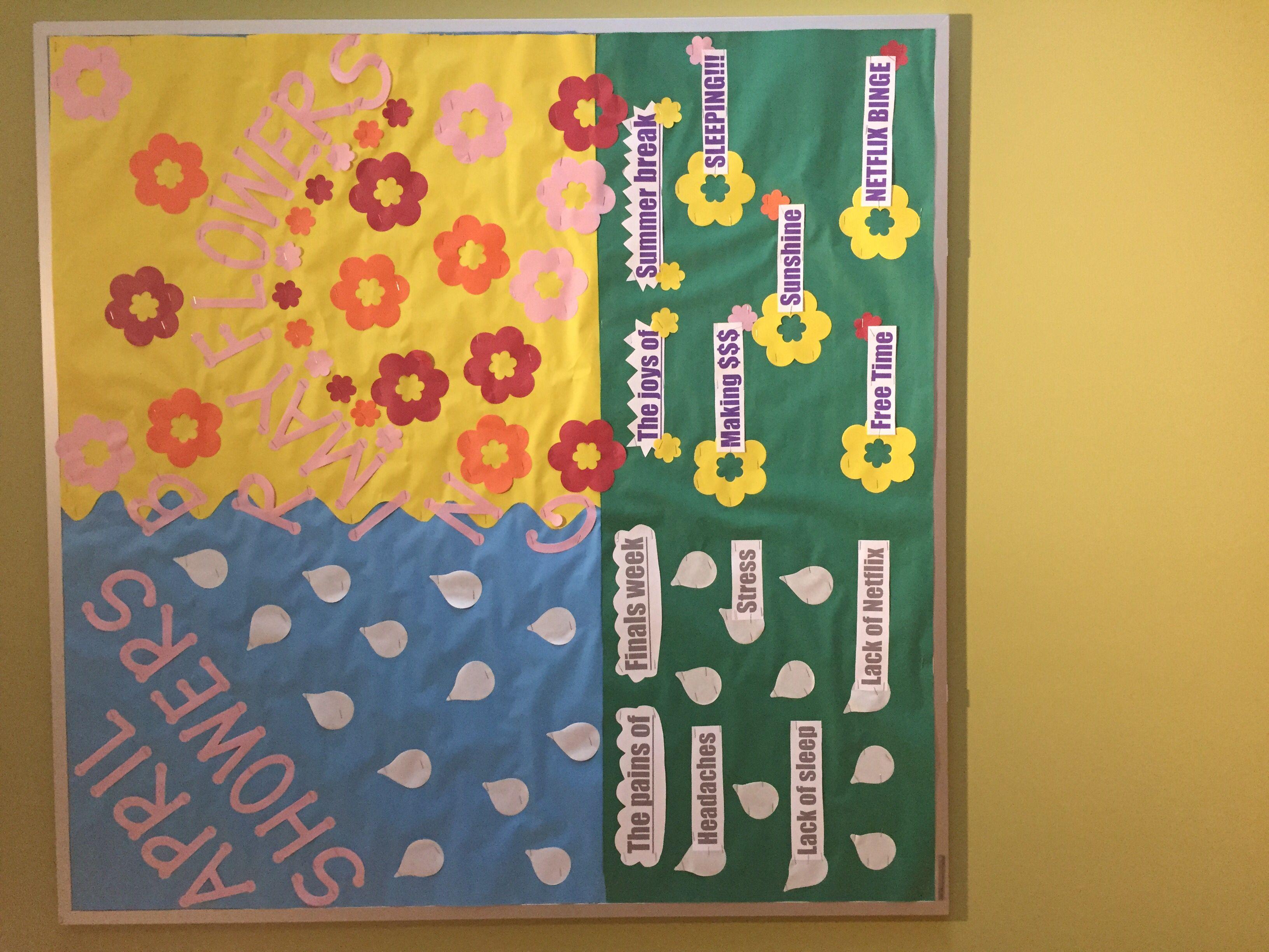 Spring time motivational bulletin board for RAs