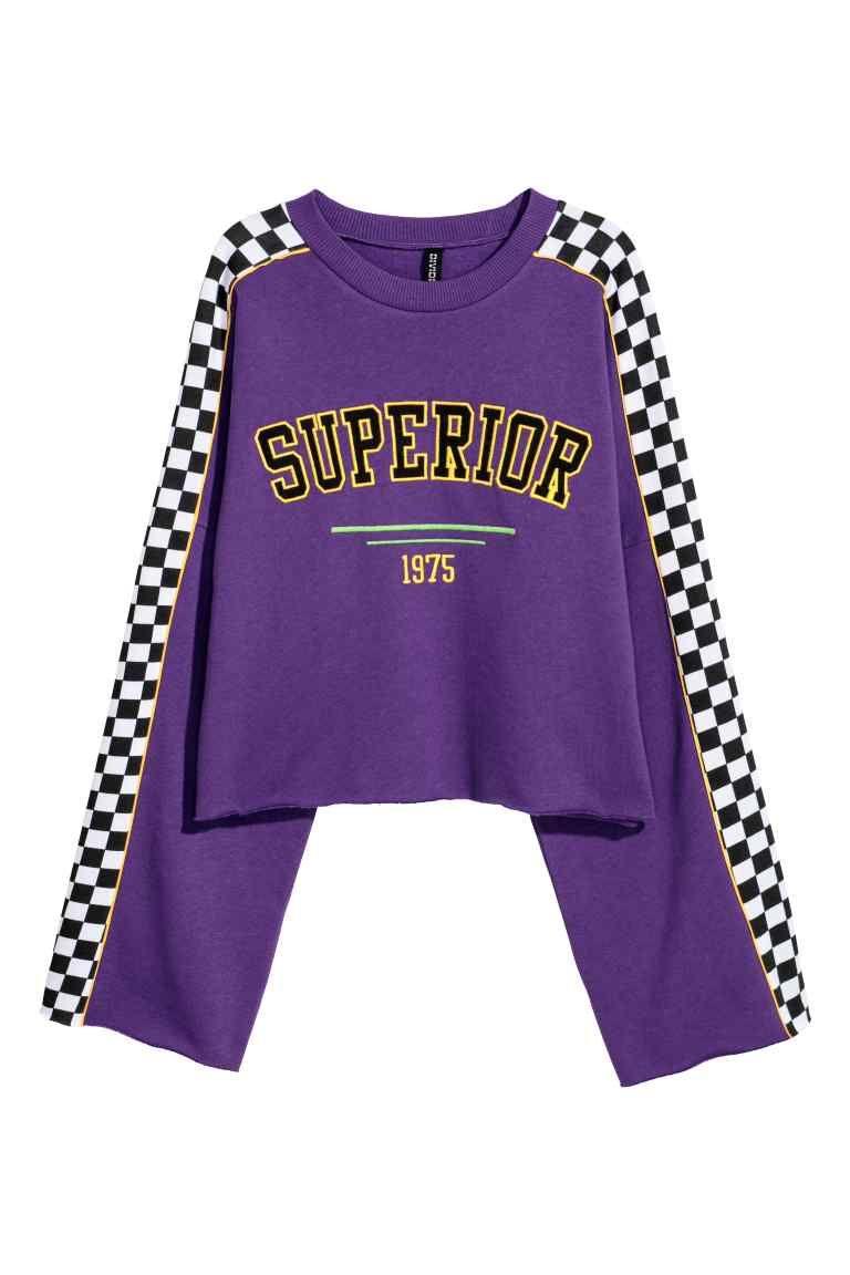 c0138c4e8de3 Cropped sweatshirt with motif - Purple/Superior - Ladies   H&M GB 1 ...