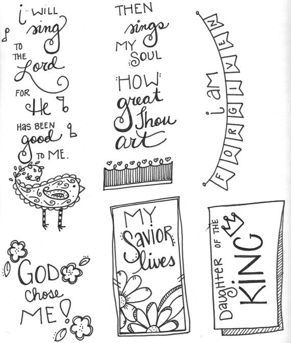 Bible Journaling  Faithful Promises 6  Then Sings My Soul  is part of Faith art journaling - I have created a line of downloadable printables called  Faithful Promises   This sixth set,  Then Sings My Soul   is a fantastic stand alone, or addition to our fantastic doodle style artwork   Faithful Promises  adds the beauty of God's love for you to your Bible journaling, faith art journaling, or mixed media projects  These images, are hand drawn by me, One Christian Chick, and ready for your creative spin  In this download you receive several images hand drawn by Tonya for bible journaling (fits in the margin), faithart journaling, or mixed media projects  You can print and color and add to your Take Me Deeper Planner Journal too! Since this is a  JPG photo file, you can choose to print it any size according to your printer specifications  Nothing will be shipped and there will be no physical product with your purchase   You will receive the instant download JPG file (without watermark)  These are great as bookmarks, Bible journaling tipins, and even a great insert for greeting cards  This is a digital file, NOT the finished product   The original ink drawing was drawn by me on white mixed media paper  No waiting, No shipping charges, No damaged goods      lots of fun    Because this is a digital product, there are no refunds or exchanges
