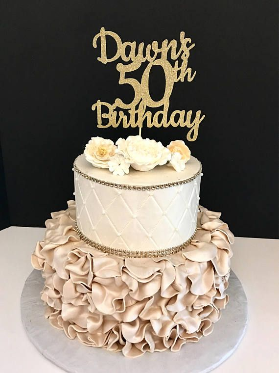 Excellent Any Name Number Gold Glitter 50Th Birthday Cake Topper 50 And Funny Birthday Cards Online Overcheapnameinfo