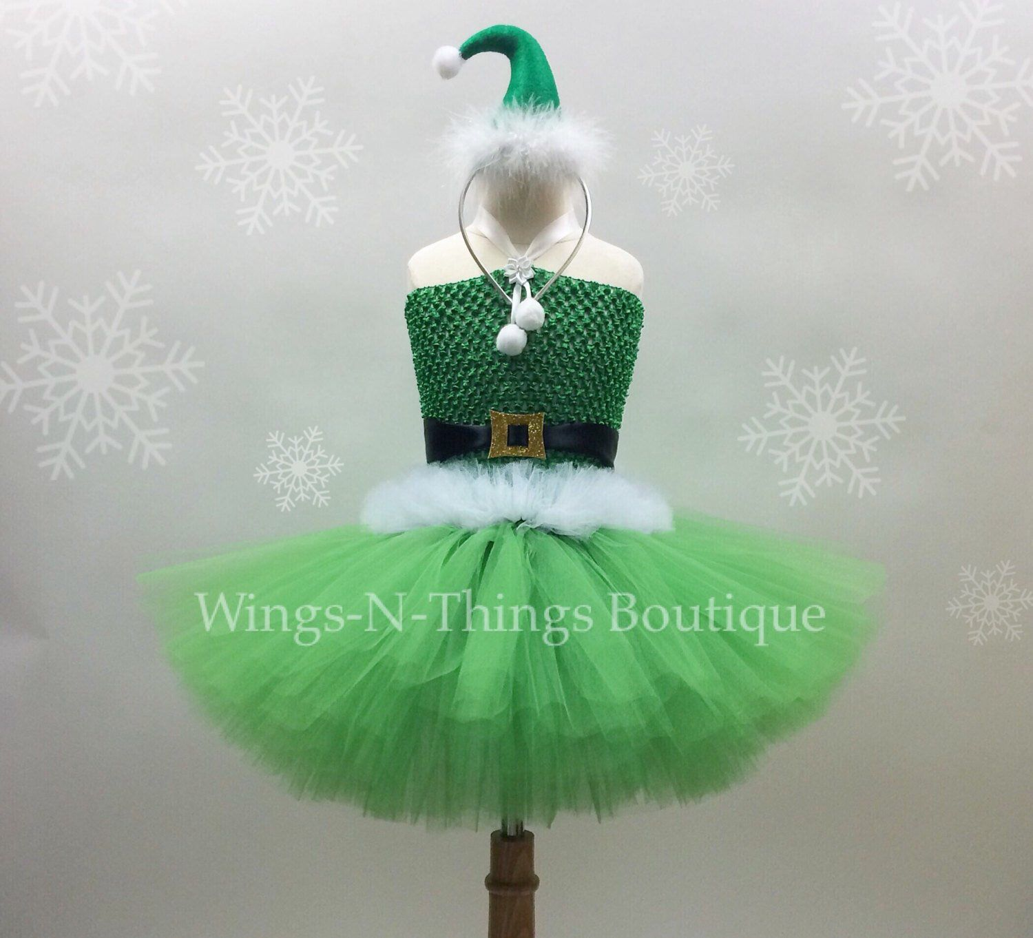2114fa0ecaaeb BUDDY ELF TUTU Dress Set w/ mini Elf Hat Headband, Childrens ...