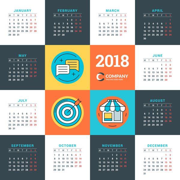 Free Eps File Company 2018 Calendar Template Vectors Material