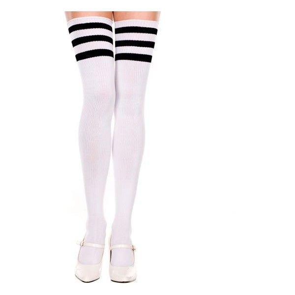 Thigh High Tube Socks with Stripes ❤ liked on Polyvore featuring intimates,  hosiery, socks, stripe socks, striped tube socks, striped thigh high socks,  ...