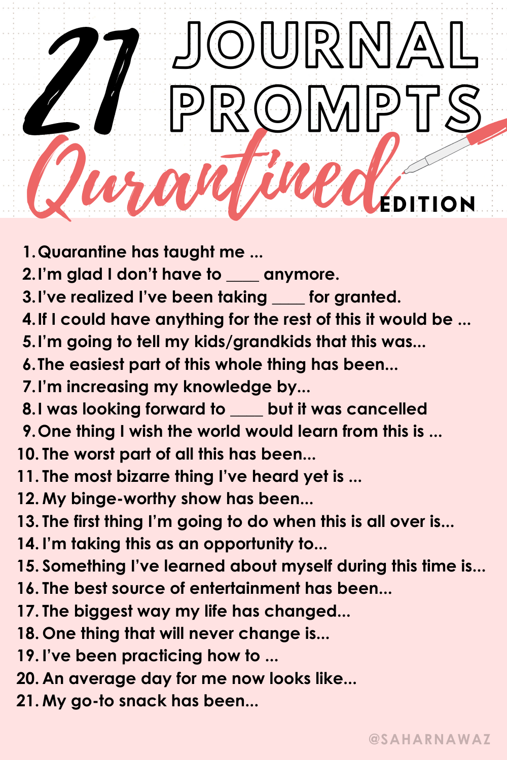 21 Journal Prompts -Quarantined Edition 21 Journal