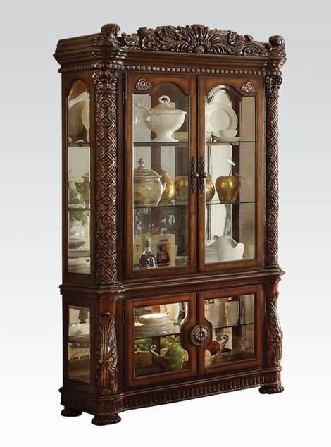 Acme 62023 Vendome Cherry Finish Wood Glass Front Curio