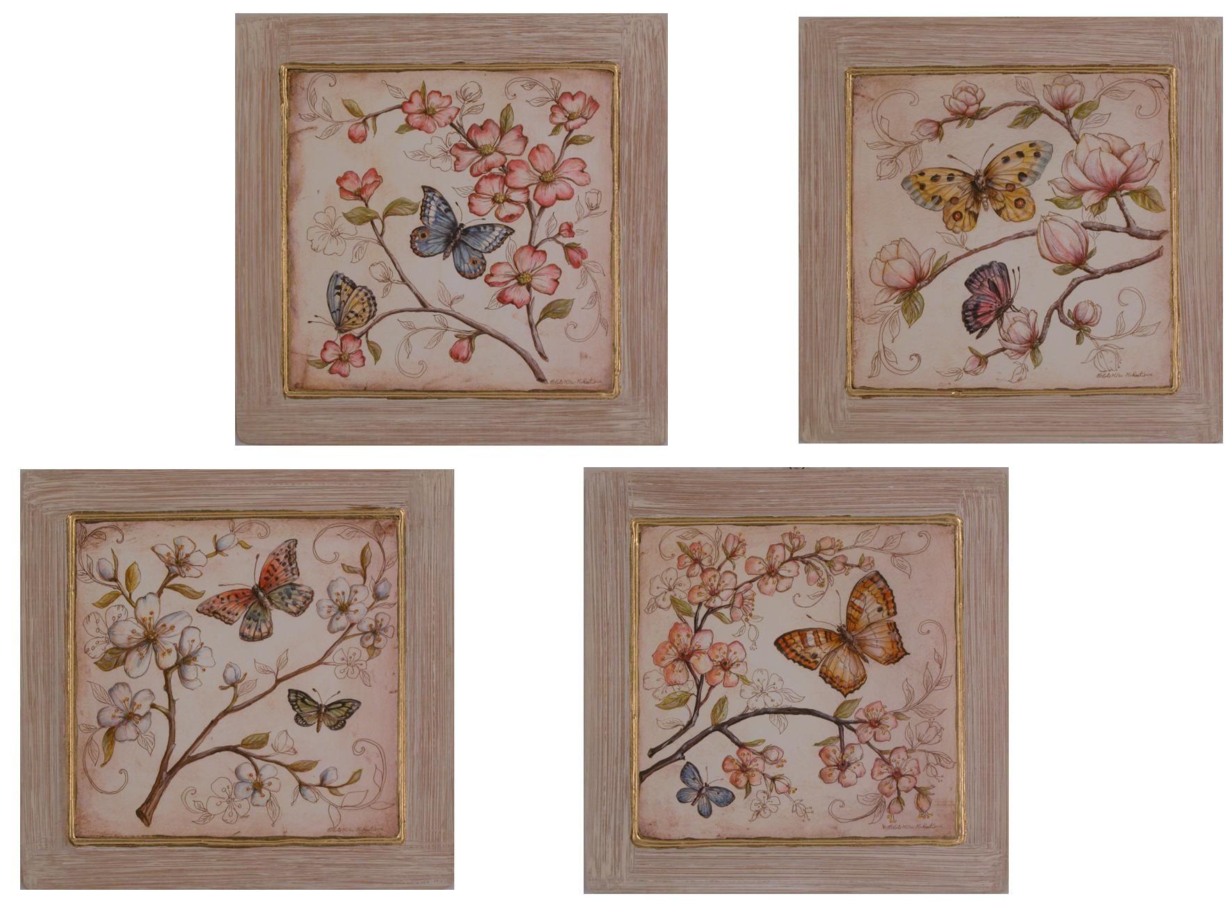 Quadri Classici Per Arredamento quadri shabby chic raffiguranti fiori e farfalle | shabby