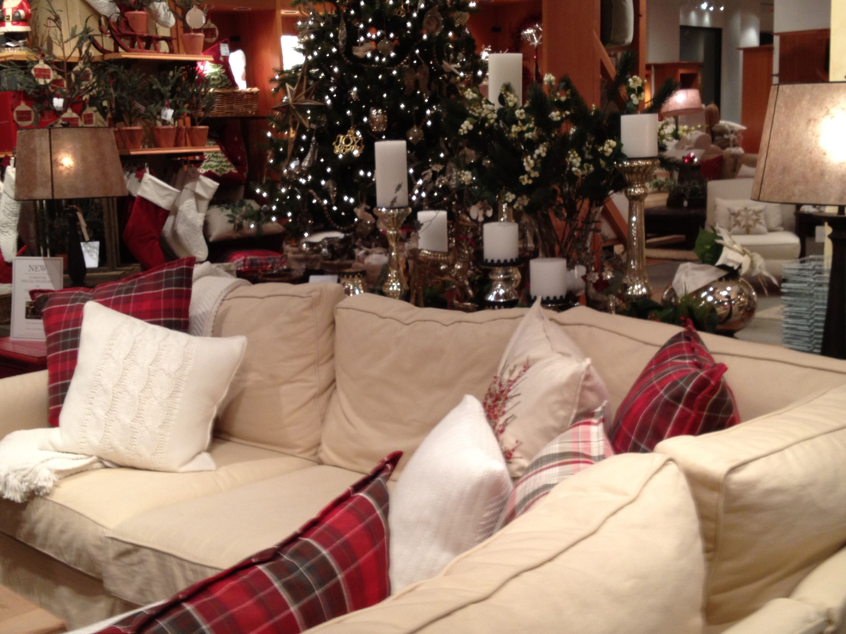Such a cozy holiday-themed living room at Pottery Barn.