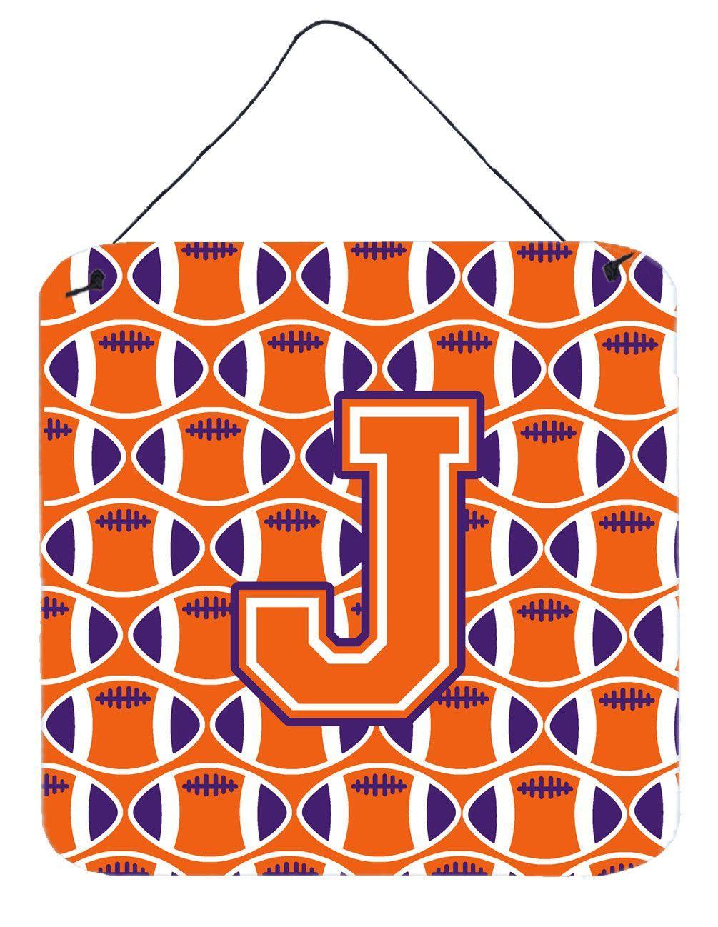 Letter J Football Orange, White and Regalia Wall or Door Hanging Prints CJ1072-JDS66