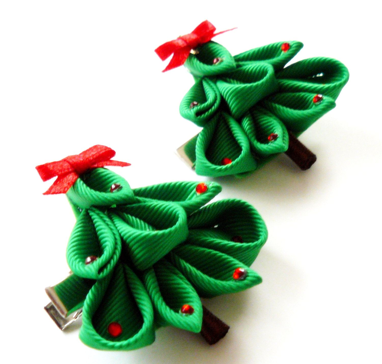 Clip Christmas Floral Puff Head Wrap or Piggy Bows Nylon