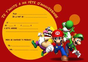 cartons d'invitation gratuits à imprimer Mario bros et ses amis en 2019 | Mario bros ...