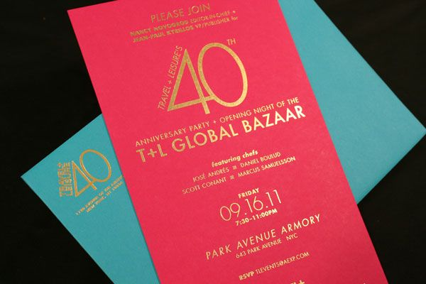 Gold transfer travel leisure 40th anniversary party for Party business card ideas