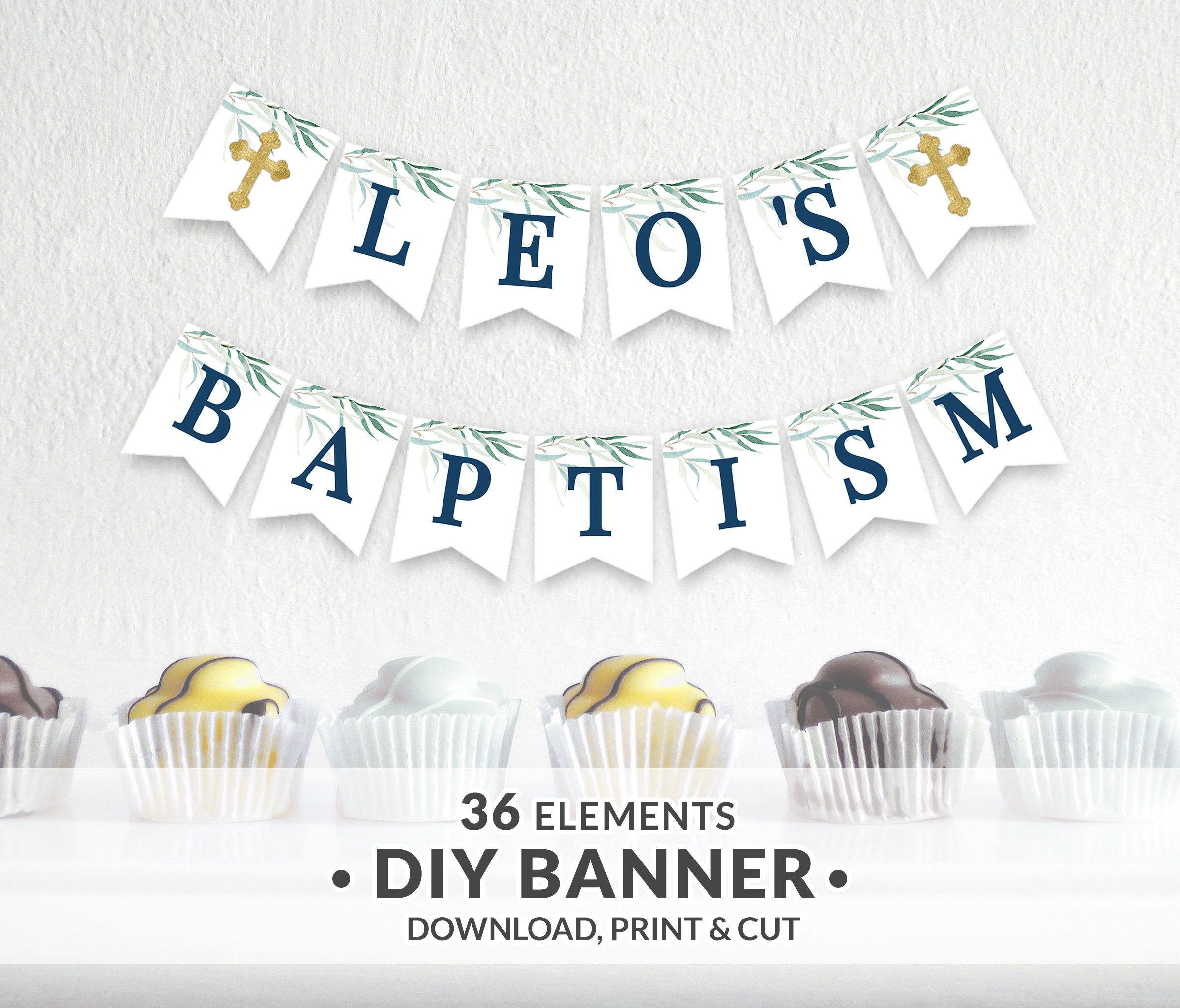 Printable Baptism Banner Boy First Holy Communion Banner