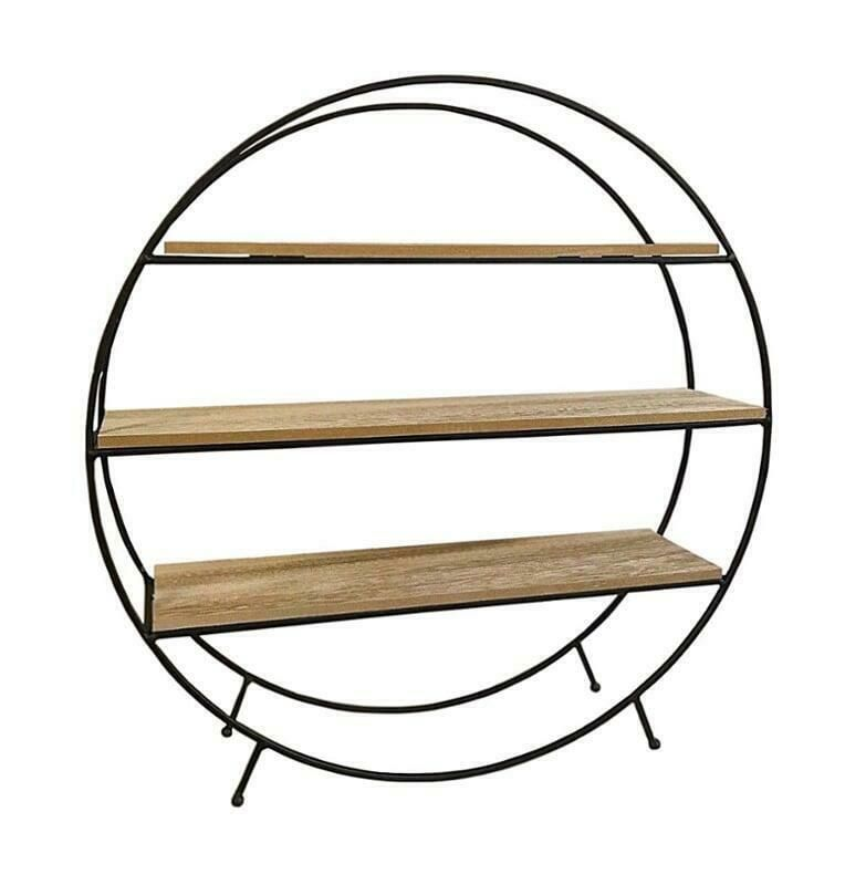 Vintage Freestanding 3 Tier Wooden Display Shelves With 2 Drawers Storage