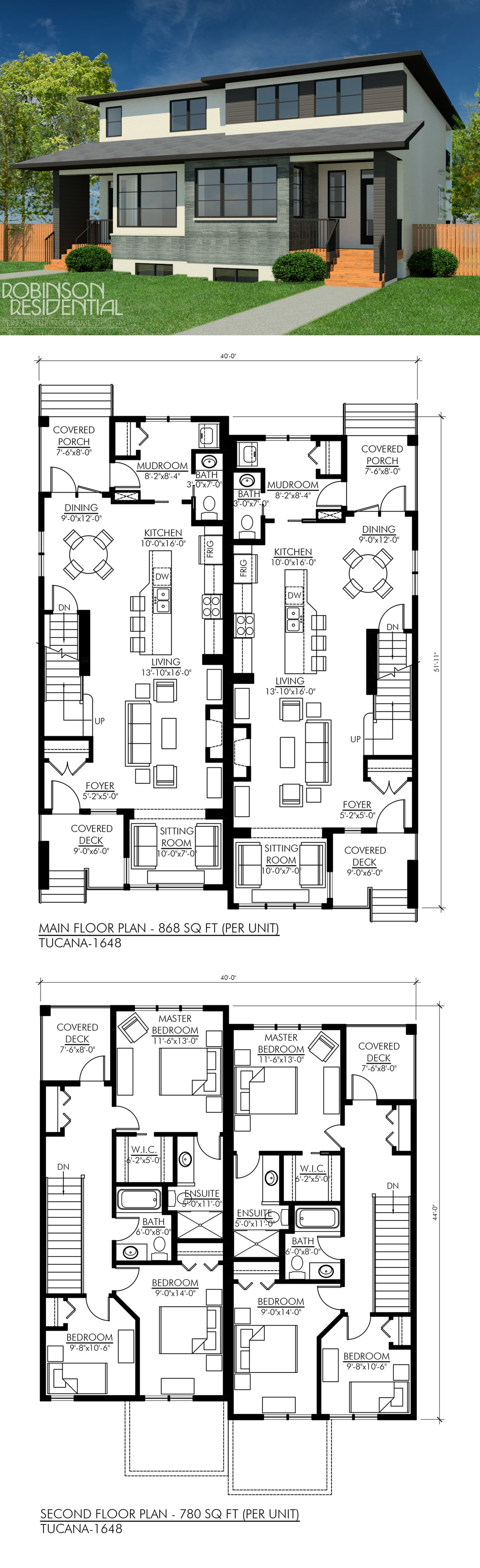Contemporary Tucana 1648 Robinson Plans House Plans Duplex House Plans Family House Plans