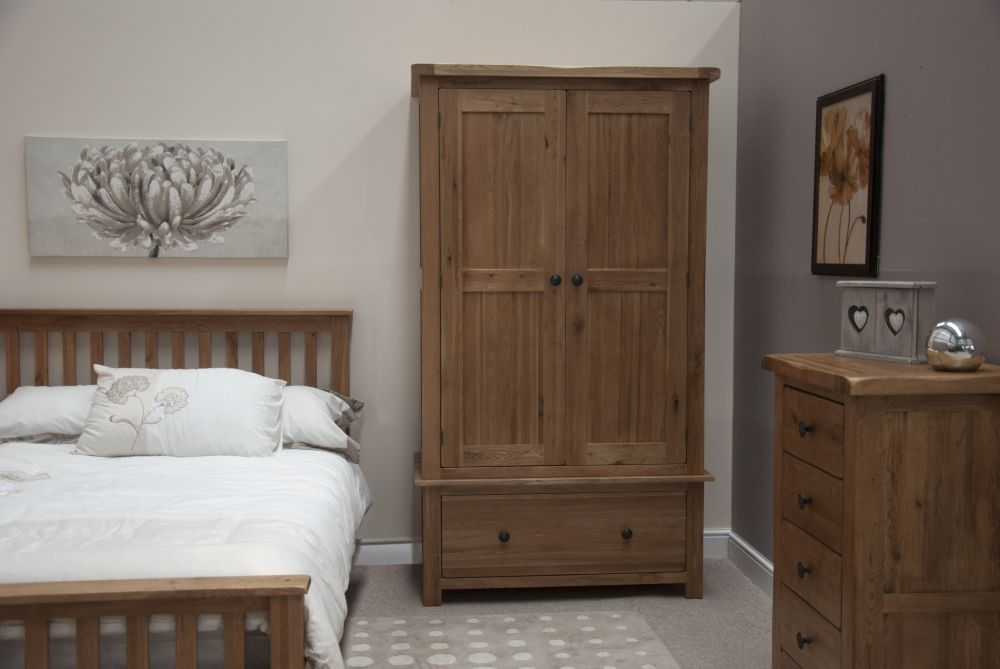 Homestyle Rustic Oak Gents Wardrobe Furniture Oak Bedroom Furniture Cheap Bedroom Sets