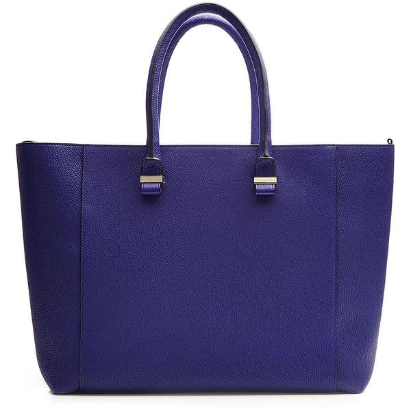 Victoria Beckham Leather Simple Shopper Tote ($1,669) ❤ liked on Polyvore featuring bags, handbags, tote bags, blue, black, genuine leather tote, leather tote, blue leather handbags, blue leather purse and structured tote