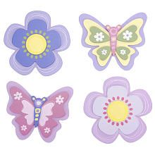 Living Textiles Baby Bella Butterfly 4-Pack Wall Plaques