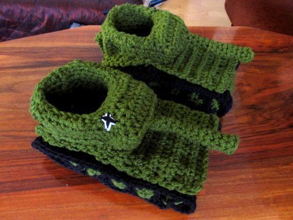 Tiger 1 Slipper Crochet Pattern, Diy Crochet Tank Slippers ...