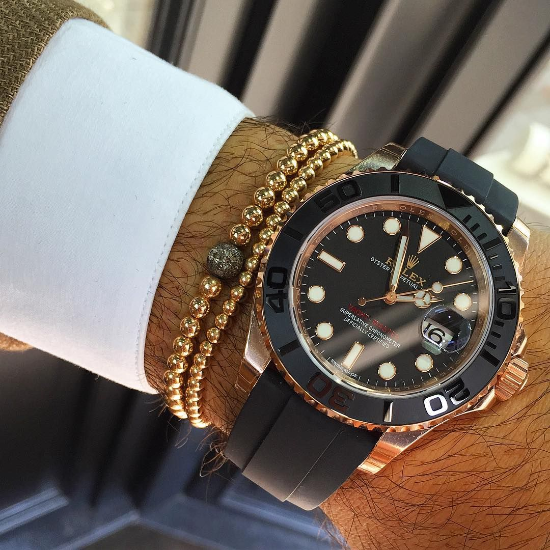Trying on the new rolex yachtmaster in rose gold and rubber