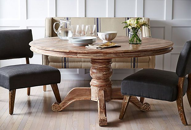 """One Kings Lane - Table Talk - Ames 60"""" Round Dining Table LOVE the idea of small couch somewhere in room that can be utilized for extra seating in addition to the normal dining chair."""