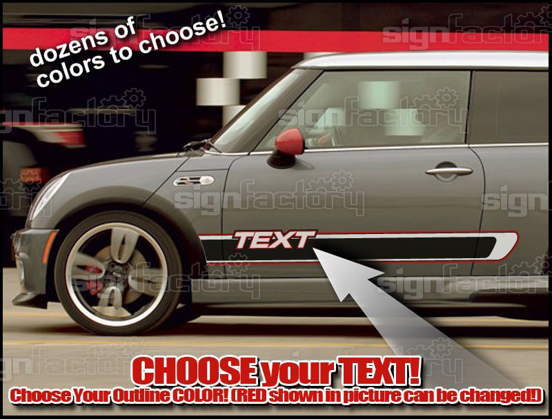 2001 and up Mini Cooper Custom Vinyl Decal Graphics Rocker Side Stripes #5