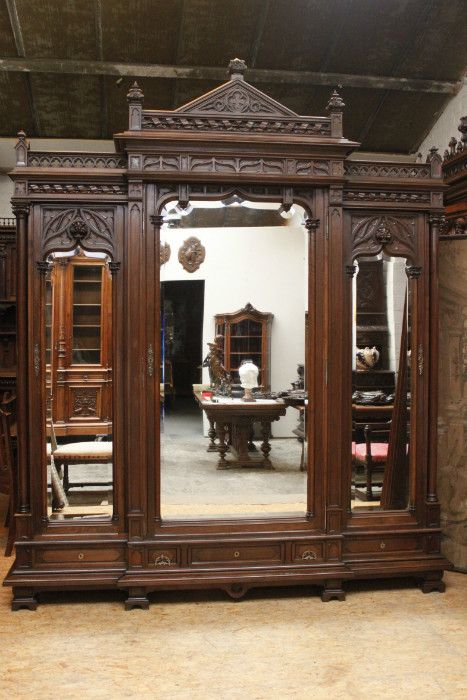 Antique French Gothic Bookcase Cabinet Armoire Monumental Size Walnut Gothic Furniture Victorian Furniture Home Decor Furniture