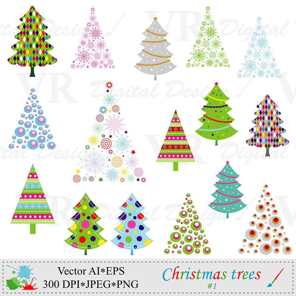 Christmas Trees Clip Art Christmas Clipart Vector Digital Etsy Christmas Tree Clipart Christmas Clipart Holiday Decor Christmas